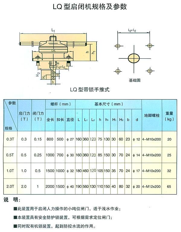 LQ型启闭机规格及参数